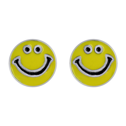 Enamel Round Smiley Face Stud Earrings
