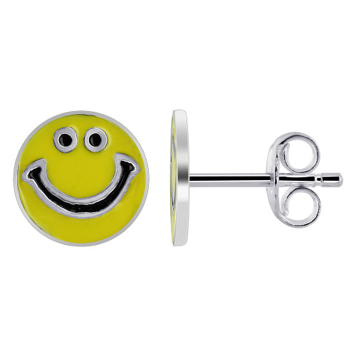 925 Sterling Silver Yellow and Black Enamel 9mm Round Smiley Face Stud Earrings
