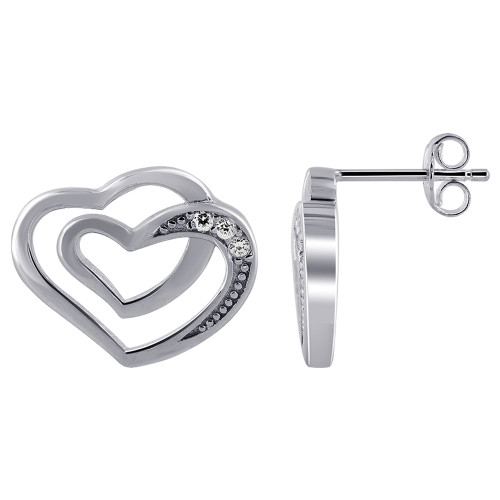 Rhodium Plated Over Sterling Silver Double Open Heart with Cubic Zirconia Earrings
