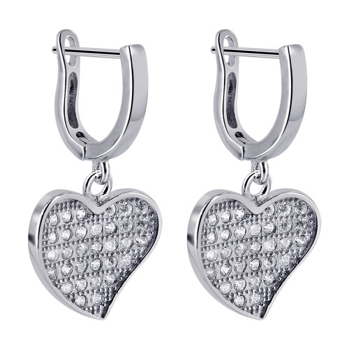 Rhodium Plated Over 925 Sterling Silver 13mm x 12mm Heart 1mm Clear Cubic Zirconia Dangle Earrings