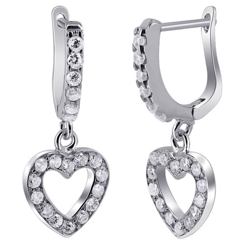 Rhodium Plated Over 925 Sterling Silver 11mm Open Heart with 2mm Round Clear Cubic Zirconia Dangle Earrings