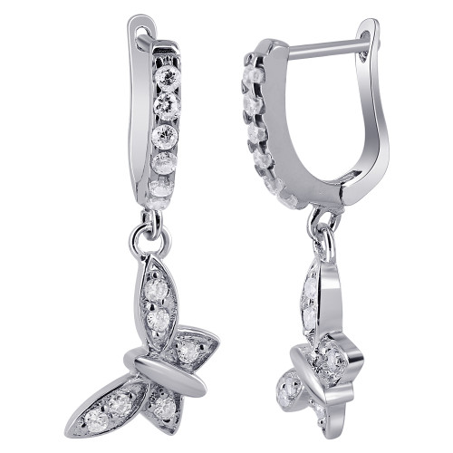 Rhodium Plated Over 925 Sterling Silver 2mm Round Clear Cubic Zirconia Butterfly Charm Dangle Earrings