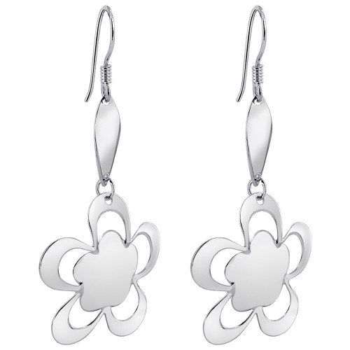 Rhodium Plated Over 925 Sterling Silver Flower French wire Dangle Earrings