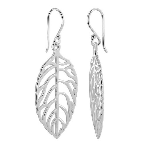 925 Sterling Silver Leaf French Dangle Earrings #MRES006
