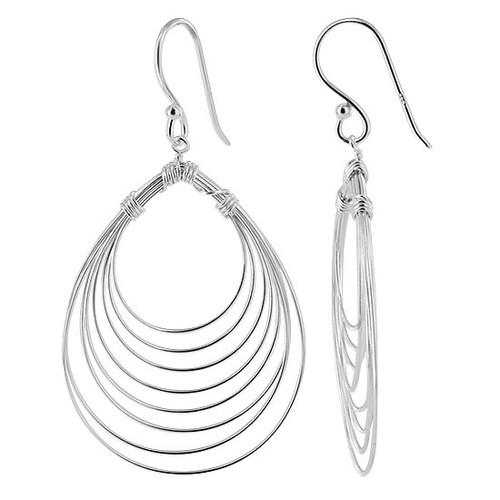 925 Sterling Silver 8 Layer Pear Design French Wire Drop Earrings