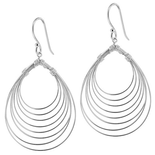 925 Sterling Silver Pear Design French Wire Drop Earrings