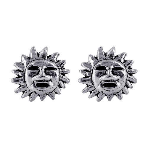 Sterling Silver Sun with Face Design Stud Earrings