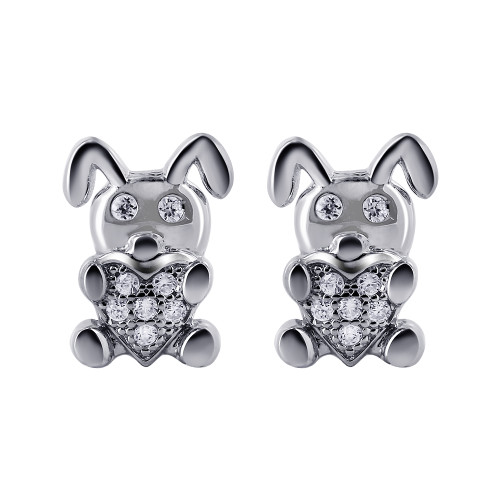 925 Sterling Silver 1mm Cubic Zirconia Bunny with Heart Stud Earrings