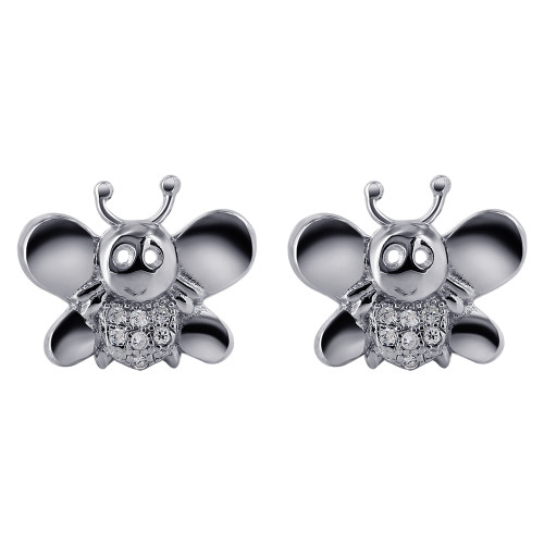925 Sterling Silver Cubic Zirconia Bee Stud Earrings #E003