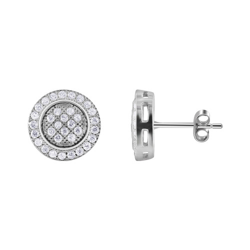 925 Sterling Silver Round Pave Set Cubic Zirconia Post Back Stud Earrings