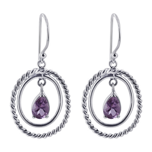 Teardrop Violet Cubic Zirconia Drop Earrings
