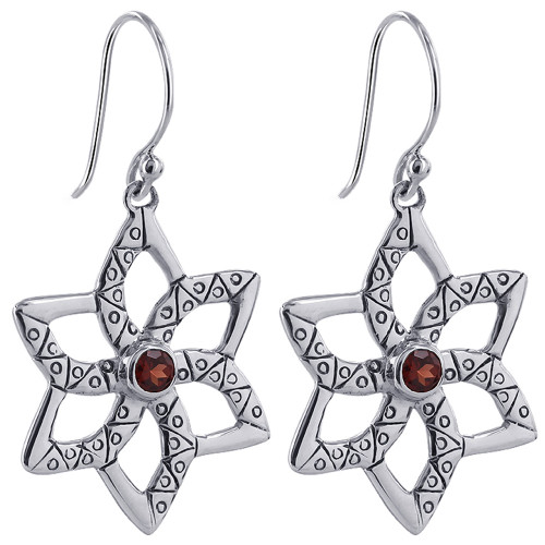 Round Ruby Cubic Zirconia Star Design 925 Sterling Silver Earrings