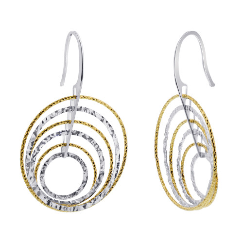 Sterling Silver Hoops Drop Earrings