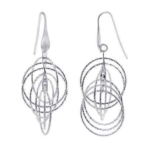 Rhodium Plated Sterling Silver Hollow Round Hoops Drop Earrings