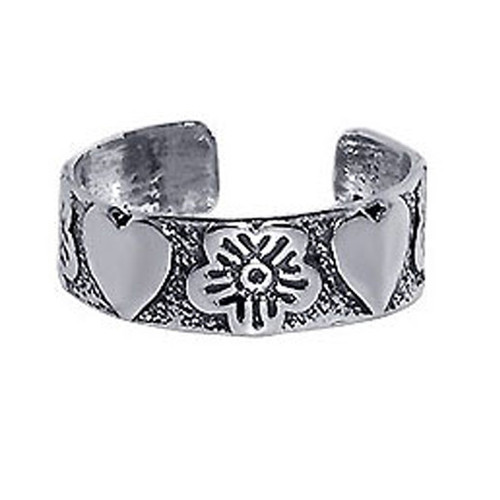 925 Sterling Silver Antique Finish Orchids and Hearts Toe Ring for Women