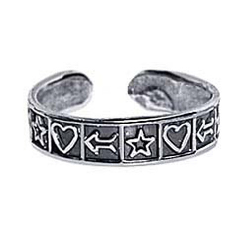 925 Sterling Silver Antique Finish Heart Star Arrow Toe Ring for Women