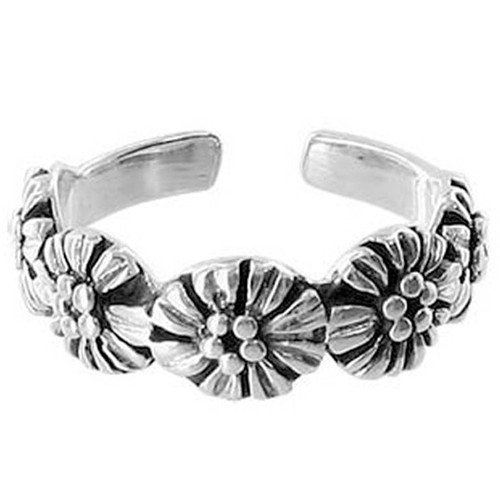 5mm Wide Flowers Toe Ring