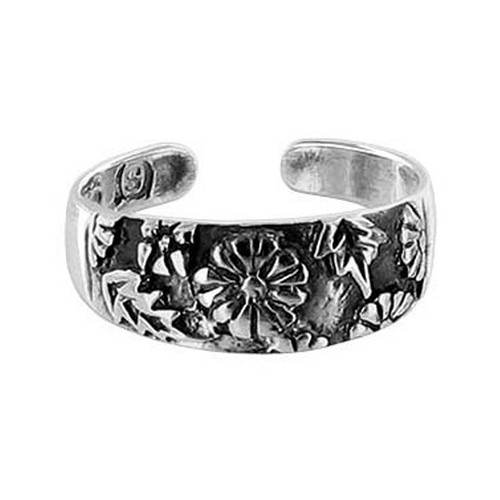 925 Sterling Silver Oxidized Floral 6mm Toe Ring #BDTS012