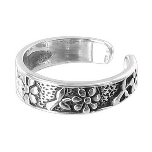 925 Sterling Silver Flowers Toe Ring #BDTS016