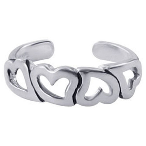 925 Sterling Silver Four Open Hearts Toe Ring