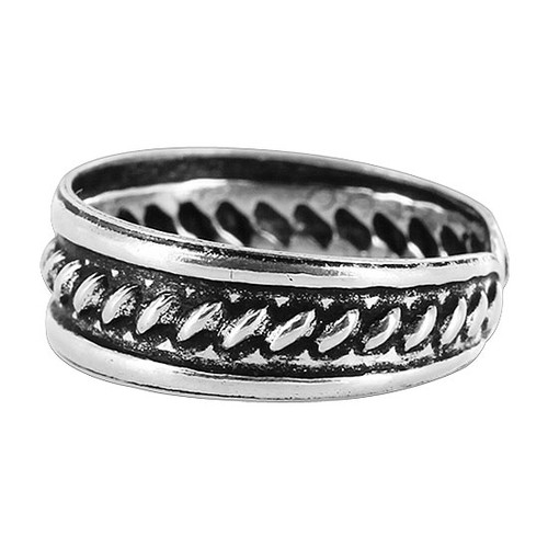 925 Sterling Silver Braided Design 5mm Toe Ring #ZFTS018