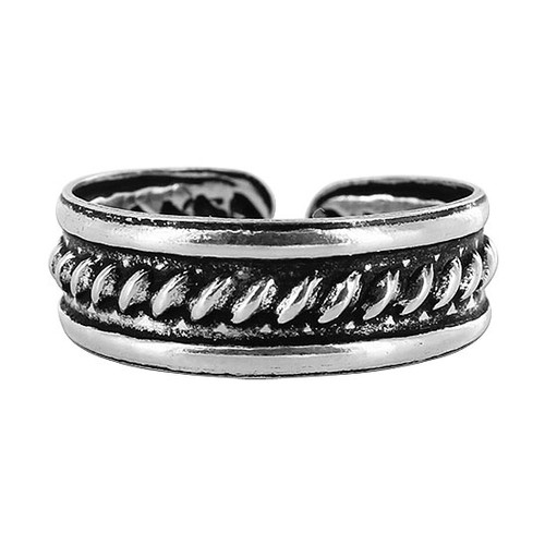 925 Sterling Silver 5mm Braided Design Toe Ring for Women