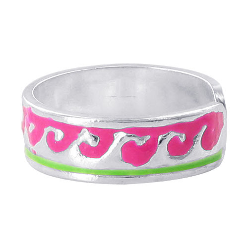 925 Sterling Silver Pink and Green Wave Design Toe Ring #ZFTS023