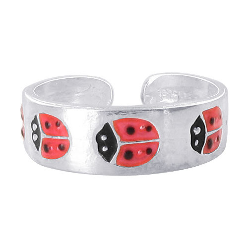 925 Sterling Silver 5mm Red and Black Enamel Ladybug Toe Ring for Women