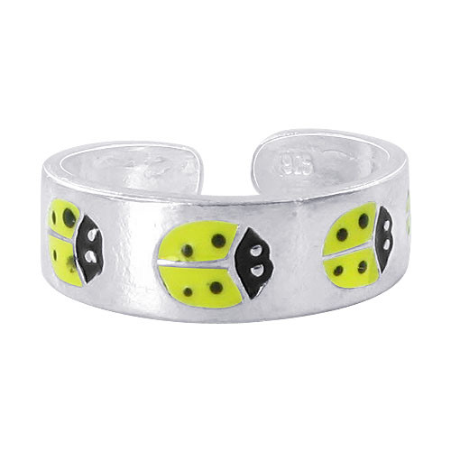 925 Sterling Silver 5mm Yellow and Black Enamel Ladybug Toe Ring for Women