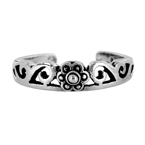 925 Sterling Silver Floral and Swirl Design Toe Ring for Women