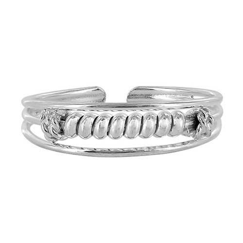 925 Sterling Silver Coiled Wire Design Toe Ring for Women
