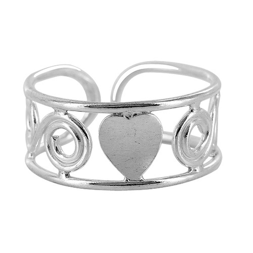 925 Sterling Silver Swirls and Single Heart Design Toe Ring for Women