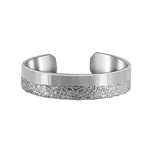 925 Sterling Silver Shiny and Silver Dust Texture Toe Ring for Women
