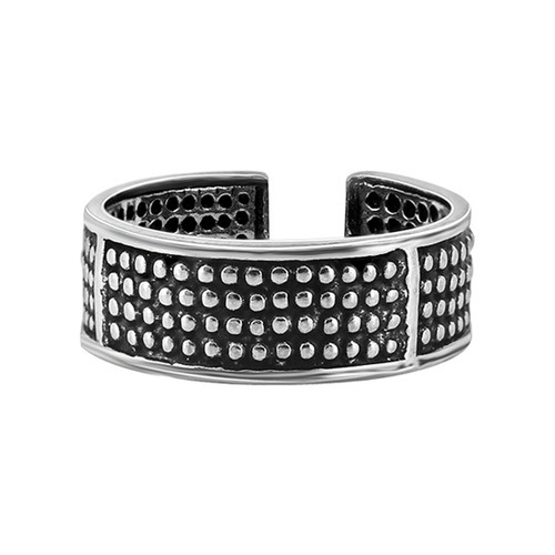 925 Sterling Silver Oxidized Dotted Toe Ring for Women