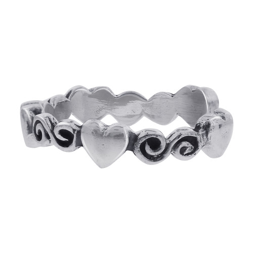 925 Sterling Silver Heart and Swirl Design Toe Ring #LWTS047