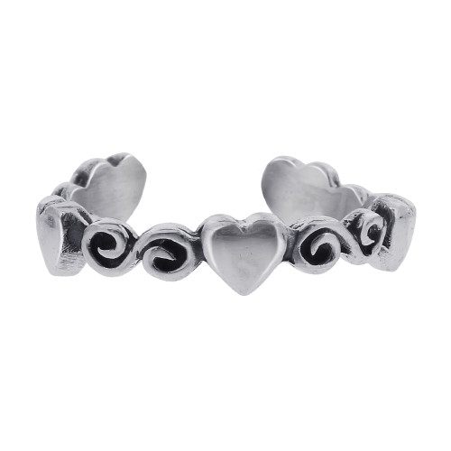 925 Sterling Silver Heart and Swirl Design Toe Ring for Women