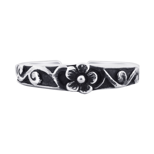 925 Sterling Silver Floral Design Toe Ring for Women
