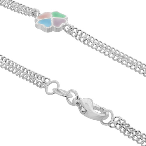 Silver Plated with 8mm Multicolor Clover Charms 9.5, 10, 12 Inch Ankle Bracelet #HOAG045