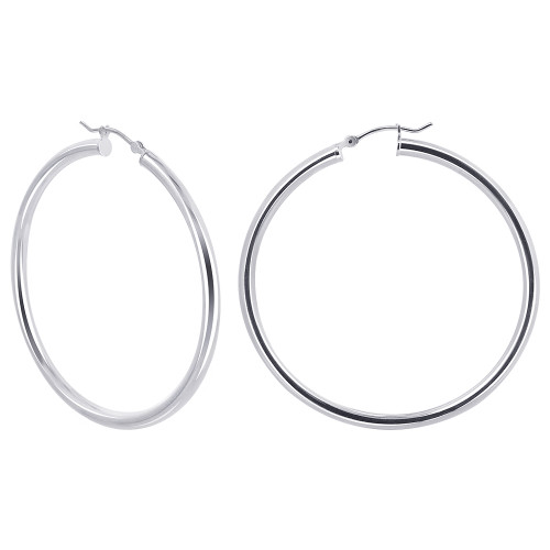 3mm wide Tube 925 Sterling Silver 50mm Hoop Earrings