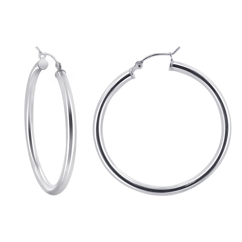 2.5mm wide Tube 925 Sterling Silver 35mm Hoop Earrings