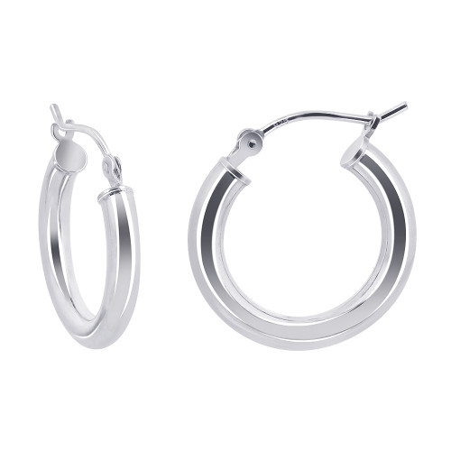 2.5mm wide Tube 925 Sterling Silver 19mm Hoop Earrings