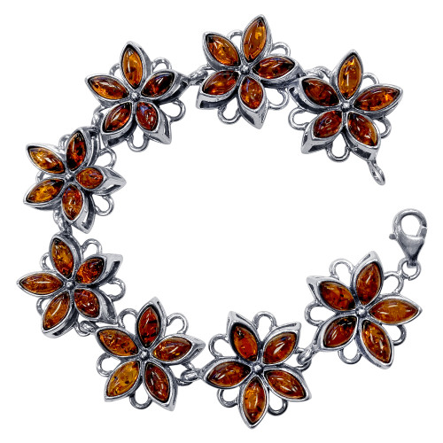 925 Sterling Silver Flower Amber 7.5 inch Bracelet With Lobster Clasp
