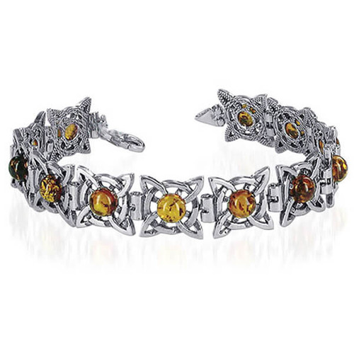 Amber Gemstone Bangle Bracelet