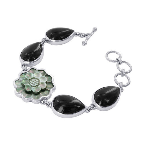 925 Silver Floral Teardrop Cabochon Onyx 7 inch Link Bracelet with Toggle Clasp