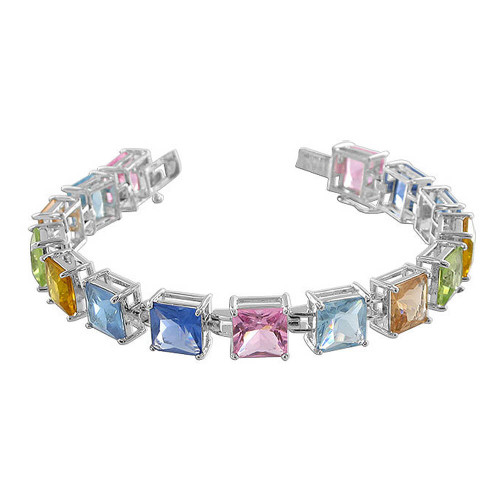 Sterling Silver Square cut Multicolor CZ 7.5 inch Link Bracelet Box with Tongue & safety Clasp