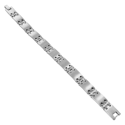 Silver Plated 11mm Wide Designer Link Magnetic Therapy Bracelet with Fold Over Clasp