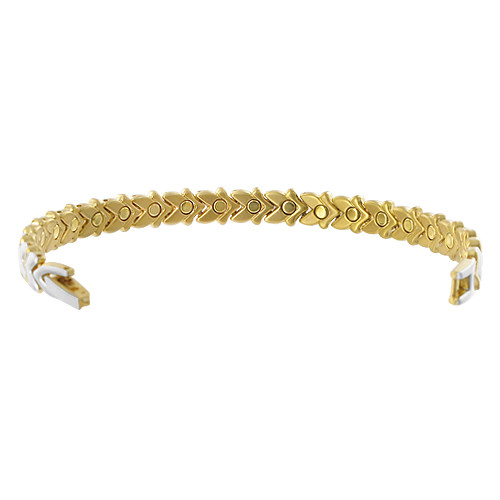Two tone Magnetic Link Therapy 7.5 inch Bracelet with Fold Over Clasp