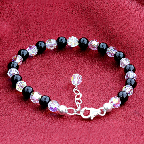 925 Sterling Silver Onyx Beads and Clear 7 to 9 inch Bracelet Made with Swarovski Crystal Elements