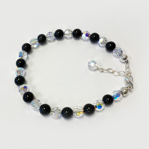 925 Silver Onyx Beads and Clear Bracelet Made with Swarovski Crystal