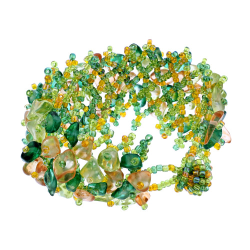 Green and Yellow Resin 7 inch Cluster Beads Bracelet
